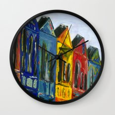 Rainbow Row Wall Clock