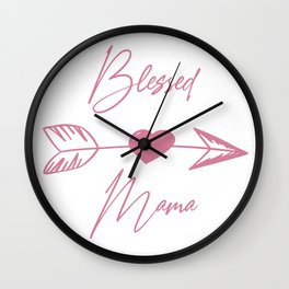 Blessed Mama boho pink lettering Wall Clock