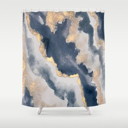 All that Shimmers – Gold + Navy Geode Shower Curtain