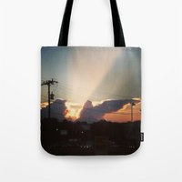 dave matthews Tote Bags featuring Sunset in Matthews, NC by KfrogB