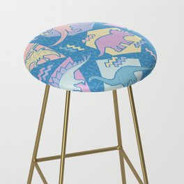 Nineties Dinosaurs Pattern  - Pastel version Bar Stool