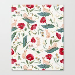 Ramona Poppy off-white Canvas Print