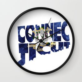 Connecticut Typographic Flag Map Art Wall Clock
