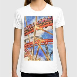 Fun on the roller coaster, close up T-shirt