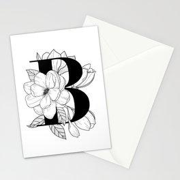 Monogram B with Magnolia Line Art Stationery Cards