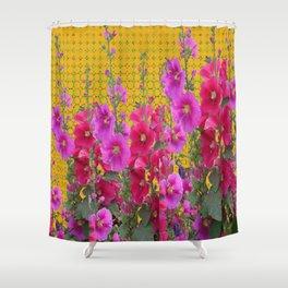 MODERN STYLE FUCHSIA-PINK HOLLYHOCKS GARDEN Shower Curtain