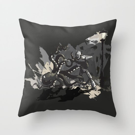 Octopus Wrestling with a Robot Throw Pillow