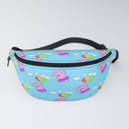 Pink Hippo Flying With Balloons In Blue Sky Fanny Pack