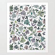 Black Border Leaves  Art Print
