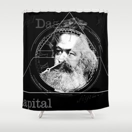 The Time of Marx Dark Shower Curtain