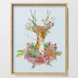 Floral Deer Serving Tray