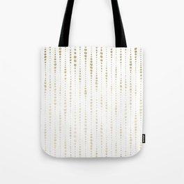 NYC Nights Gold Polka Dot Stripes Tote Bag