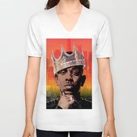 kendrick lamar V-neck T-shirts featuring King Kendrick by Tecnificent