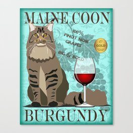 Maine Coon Burgundy Wine - Cat Graphic Poster Canvas Print