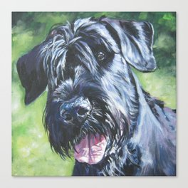 Giant Schnauzer Dog Portrait Art from an original painting by L.A.Shepard Canvas Print