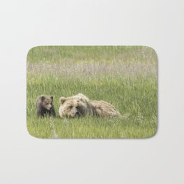 Young Brown Bear Cub and Its Mother, No. 1 Bath Mat