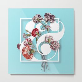 Ampersand Floral Collage Metal Print