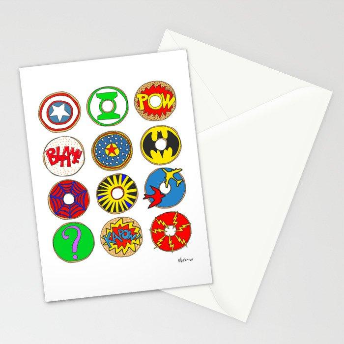 Superhero Donuts Stationery Cards