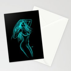 Woman Nude - Black and Green Design Stationery Cards