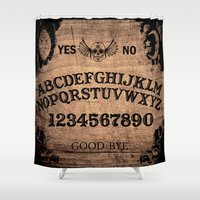 ouija Shower Curtains featuring Ouija Board by KickPunch