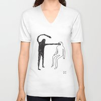 mouth V-neck T-shirts featuring Mouth by Fupete Art
