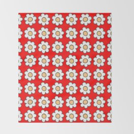 Retro Doodle Mini Flower - Red and White Throw Blanket