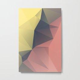 Anna — Poster summer, sun yellow, art geometric, low poly triangle, mountain, landscape, sunrise Metal Print