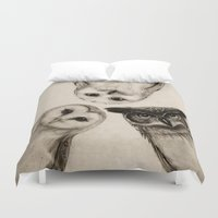 abstract art Duvet Covers featuring The Owl's 3 by Isaiah K. Stephens