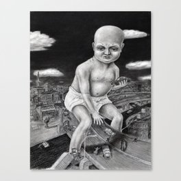 Attack of the Giant Baby - charcoal drawing Canvas Print