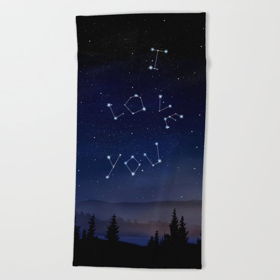 I love You Stars Design Beach Towel