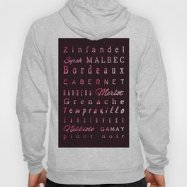 Red Wine Types Typography Poster Hoody