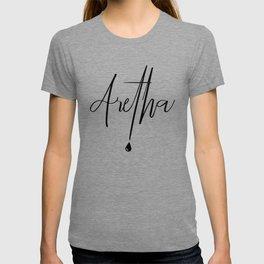 Aretha Franklin with a tear drop T-shirt