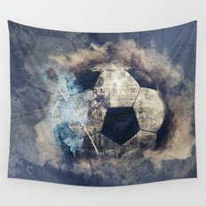 Abstract Grunge Soccer Wall Tapestry