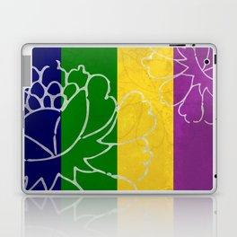 Chinese Flowers & Stripes - Purple Yellow Green Blue Laptop & iPad Skin