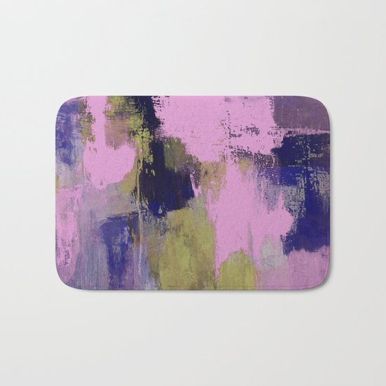 Wild Lilac - Abstract, textured, lilac, purple, blue and yellow oil painted artwork Bath Mat