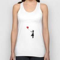 banksy Tank Tops featuring Banksy Girl with Ballooon reproduction by canvas your life