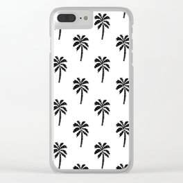 Palm Tree linocut minimal tropical black and white decor Clear iPhone Case
