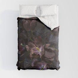 Black tulips on dark background Comforters