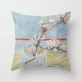 Almond blossoms in the glass Throw Pillow