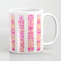 tiki Mugs featuring Tiki Totems – Pink Palette by Cat Coquillette