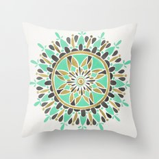Mint & Gold Mandala Throw Pillow