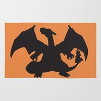 charizard Area & Throw Rugs featuring Charizard Silhouette by Jessica Wray