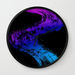 Fuchsia to Sky Blue Brush Drip Abstract Painting on Black Wall Clock
