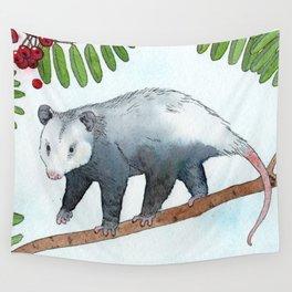 Opossum in a Rowan Tree Wall Tapestry
