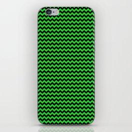 Mini Dark Black and Bright Monster Green Halloween Chevron Stripes iPhone Skin
