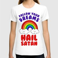 satan T-shirts featuring Hail Satan by Vile Art