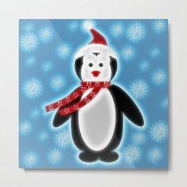 Happy Christmas Penguine Metal Print