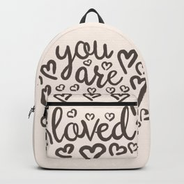 You Are Loved, Hand-written Typography Artwork With Doodle Hearts Backpack