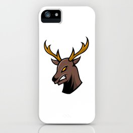 Angry Deer Sport Gaming Esport Logo Template With Long Horn iPhone Case
