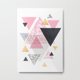 Multi Triangle - Rose Gold and Marble Metal Print
